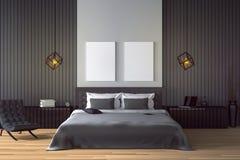 tolkning 3D: illustration av den moderna trähusinre sängrumdel av huset Rymligt sovrum i wood stil Royaltyfria Bilder