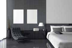 tolkning 3D: illustration av den moderna trähusinre sängrumdel av huset Rymligt sovrum i wood stil Royaltyfri Bild