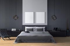 tolkning 3D: illustration av den moderna trähusinre sängrumdel av huset Rymligt sovrum i wood stil Royaltyfri Fotografi