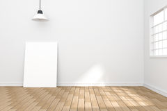 tolkning 3D: illustration av den vita affischen i tomt rum utrymme för din text och bild produktskärmmall Arkivbilder