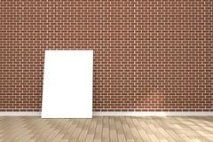 tolkning 3D: illustration av den vita affischen i tomt rum utrymme för din text och bild produktskärmmall Röd tegelstenvägg Fotografering för Bildbyråer