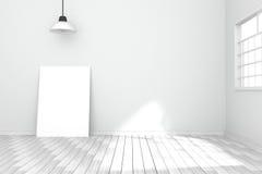 tolkning 3D: illustration av den vita affischen i tomt rum utrymme för din text och bild produktskärmmall wall white Royaltyfri Fotografi