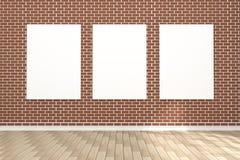 tolkning 3D: illustration av den vita affischen som hänger på väggen i tomt rum utrymme för din text och bild Produktskärm Arkivfoto