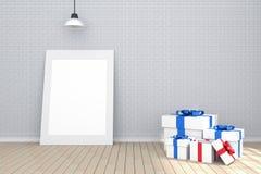 tolkning 3D: illustration av den vita bildramen i tomt rum Tegelstenvägg och trägolv utrymme för din text och bild Arkivfoton