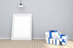 tolkning 3D: illustration av den vita bildramen i tomt rum Tegelstenvägg och trägolv utrymme för din text och bild Royaltyfri Foto