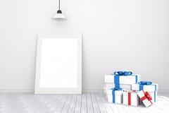 tolkning 3D: illustration av den vita bildramen i tomt rum vitt trä för golvvägg utrymme för din text och bild Royaltyfria Foton