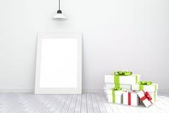 tolkning 3D: illustration av den vita bildramen i tomt rum vitt trä för golvvägg utrymme för din text och bild Arkivfoton
