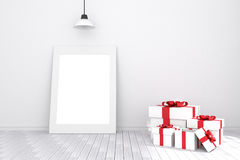 tolkning 3D: illustration av den vita bildramen i tomt rum vitt trä för golvvägg utrymme för din text och bild Arkivbilder