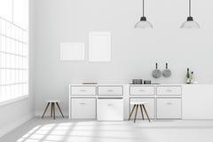 tolkning 3D: illustration av den vita inre moderna kökrumdesignen med att hänga för lampa för två tappning skinande grå färggolv  Arkivbilder