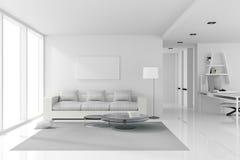 tolkning 3D: illustration av den vita inredesignen av vardagsrum med vitt modernt stilmöblemang skinande vitt golv Fotografering för Bildbyråer