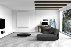 tolkning 3D: illustration av den vita vardagsruminredesignen med den mörka soffan blank rambild hyllor och vitväggar Royaltyfria Bilder