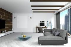 tolkning 3D: illustration av den vita vardagsruminredesignen med den mörka soffan blank rambild hyllor och vitväggar Arkivfoton