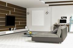 tolkning 3D: illustration av den vita vardagsruminredesignen med den mörka soffan blank rambild hyllor och vitväggar Fotografering för Bildbyråer