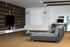 tolkning 3D: illustration av den vita vardagsruminredesignen med den mörka soffan blank rambild hyllor och vitväggar Arkivfoto