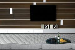 tolkning 3D: illustration av den vita vardagsruminredesignen med soffan hyllor och träväggar glass tabell med vinflaskan Fotografering för Bildbyråer