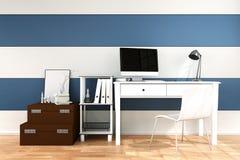tolkning 3D: illustration av det moderna inre idérika märkes- kontorsskrivbordet med PCdatoren Royaltyfri Illustrationer