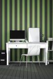 tolkning 3D: illustration av det moderna inre idérika märkes- kontorsskrivbordet med PCdatoren Stock Illustrationer