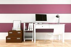 tolkning 3D: illustration av det moderna inre idérika märkes- kontorsskrivbordet med PCdatoren Fotografering för Bildbyråer