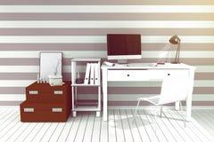 tolkning 3D: illustration av det moderna inre idérika märkes- kontorsskrivbordet med PCdatoren Royaltyfri Bild