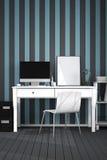 tolkning 3D: illustration av det moderna inre idérika märkes- kontorsskrivbordet med PCdatoren Arkivfoton