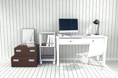 tolkning 3D: illustration av det moderna inre idérika märkes- kontorsskrivbordet med PCdatoren Royaltyfria Bilder