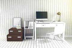 tolkning 3D: illustration av det moderna inre idérika märkes- kontorsskrivbordet med PCdatoren arbetsplats av den grafiska design Vektor Illustrationer