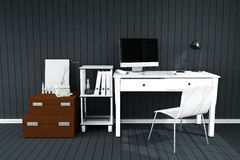tolkning 3D: illustration av det moderna inre idérika märkes- kontorsskrivbordet med PCdatoren arbetsplats av den grafiska design Royaltyfri Fotografi