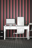 tolkning 3D: illustration av det moderna inre idérika märkes- kontorsskrivbordet med PCdatoren arbetsplats av den grafiska design Arkivbild