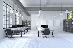 tolkning 3D: illustration av det moderna inre idérika märkes- kontorsskrivbordet med PCdatoren datorlabb chart working för sikten Arkivbilder