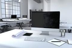 tolkning 3D: illustration av det moderna inre idérika märkes- kontorsskrivbordet med PCdatoren datorlabb chart working för sikten Arkivbild