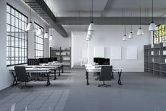 tolkning 3D: illustration av det moderna inre idérika märkes- kontorsskrivbordet med PCdatoren datorlabb chart working för sikten Royaltyfri Illustrationer