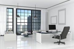 tolkning 3D: illustration av det moderna inre vita kontoret av det idérika märkes- skrivbordet med PCdatoren, tangentbord, kamera Arkivbild