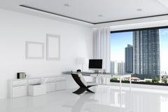 tolkning 3D: illustration av det vita kontoret av det idérika märkes- skrivbordet med den tomma datoren, tangentbordet, kameran,  Royaltyfri Bild