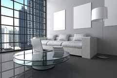 tolkning 3D: illustration av modern inre vit minimalismvardagsrum med bärbar datordatoren och boken på den glass tabellen Arkivbilder