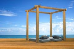 tolkning 3D: illustration av modern trästrandvardagsrumgarnering på utomhus- trärumstil för balkong med Sundeck på havssikt Royaltyfri Fotografi