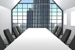 tolkning 3D: illustration av modernt konferensrum med kontorsstolmöblemang stora fönster och stadssikt kontorsåtlöje upp Vektor Illustrationer