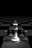 tolkning 3D: illustration av schackstycken konungschacket på mitten med trä pantsätter schack i baksidan pålagt schackbräde vektor illustrationer