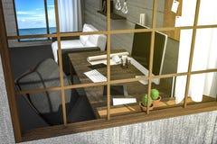 tolkning 3D: illustration av sikten utifrån av den moderna idérika arbetsplatsen PCbildskärm på tabellen och trärum med seaview Stock Illustrationer