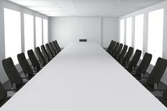 tolkning 3D: illustration av tomt modernt stort och långt konferensrum med möblemang stora fönster Fotografering för Bildbyråer