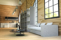 tolkning 3D: illustration av trähusinre vardagsrumdel av huset vitt möblemang i trärumstil modern vind Royaltyfri Bild