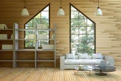 tolkning 3D: illustration av trähusinre vardagsrumdel av huset vitt möblemang i trärumstil modern vind Arkivbilder