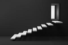 tolkning 3D: illustration av trätrappan eller moment upp till den ljusa glänsande dörren mot den svarta väggen och golvet, affärs Arkivbild