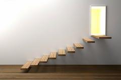 tolkning 3D: illustration av trätrappan eller moment upp till den ljusa glänsande dörren mot vit väggbakgrund med trägolvet Royaltyfri Fotografi