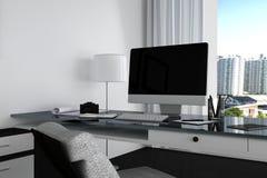 tolkning 3D: illustration som är nära upp av det idérika märkes- kontorsskrivbordet med den tomma datoren, tangentbordet, kameran Royaltyfri Foto