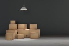 tolkning 3D: illustrationen av flyttningen boxas på ett nytt kontor home nytt Inre flyttninghus med kartonger royaltyfri illustrationer