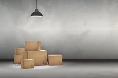 tolkning 3D: illustrationen av flyttningen boxas på ett nytt kontor home nytt Inre flyttninghus med kartonger Fotografering för Bildbyråer
