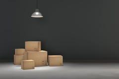 tolkning 3D: illustrationen av flyttningen boxas på ett nytt kontor home nytt Inre flyttninghus med kartonger Royaltyfria Foton