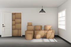 tolkning 3D: illustrationen av flyttningen boxas på ett nytt kontor home nytt Inre flyttninghus med kartonger ljus yttersida Arkivfoton