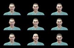 tolkning 3D: Lyckliga framsidauttryck av den manliga illustrationen med svart bakgrund stock illustrationer