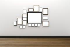 tolkning 3D: många illustration av formatet av den tomma fotoramen som hänger på den vita vägginre med trägolvet, snabb bana vektor illustrationer
